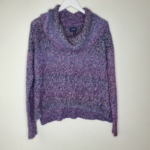 American Eagle Purple Cropped Cowl Neck Sweater